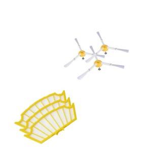 Kit 3 Filtri Ricambio + 3 Spazzole Laterali Roomba
