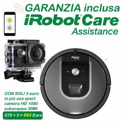 iRobot Roomba 960 -Robot Aspirapolvere Garanzia Nital Vip iRobot Care Assistance